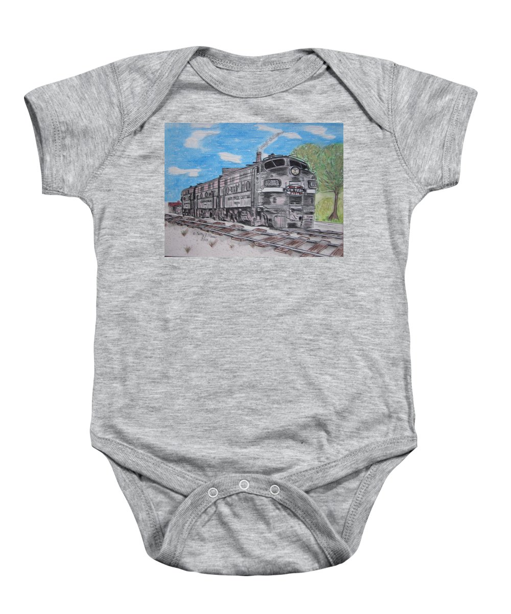 New York Baby Onesie featuring the painting New York Central Train by Kathy Marrs Chandler