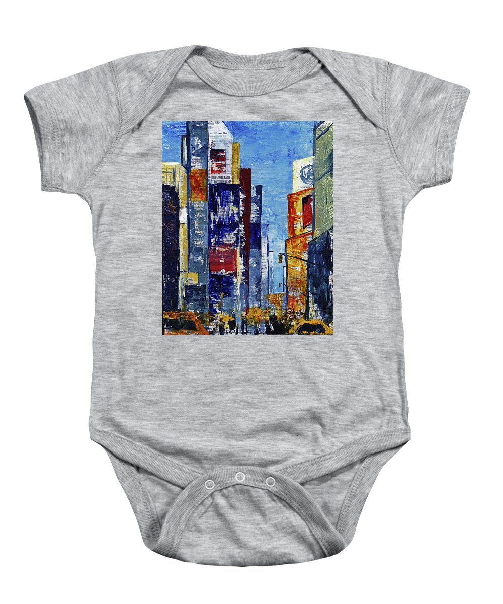 York Baby Onesie featuring the mixed media New York Dreams by Cindy Johnston