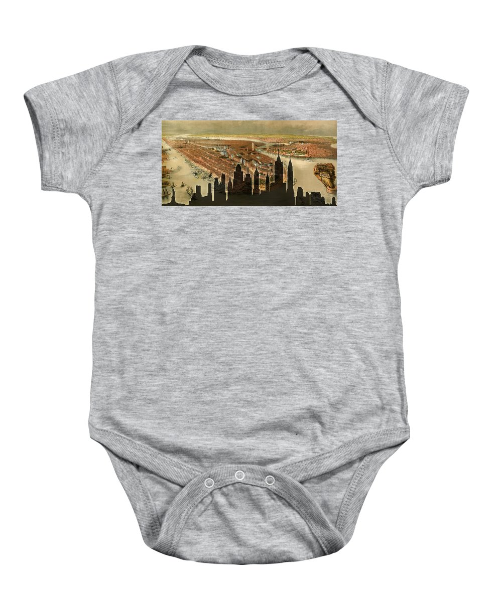 New York Baby Onesie featuring the photograph New York Old And New by Andrew Fare