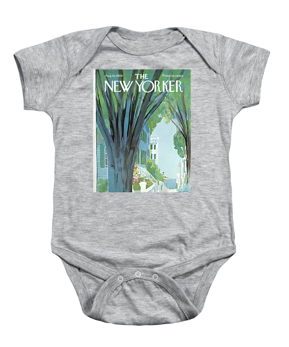 Arthur Getz Agt Baby Onesie featuring the painting New Yorker August 30th, 1969 by Arthur Getz