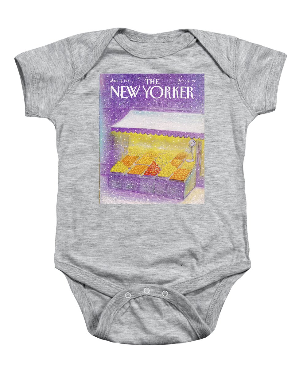 Season Baby Onesie featuring the painting New Yorker January 12th, 1981 by Eugene Mihaesco