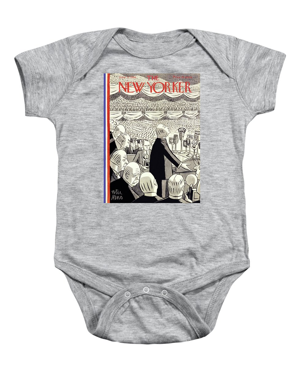 Illustration Baby Onesie featuring the painting New Yorker June 22 1940 by Peter Arno