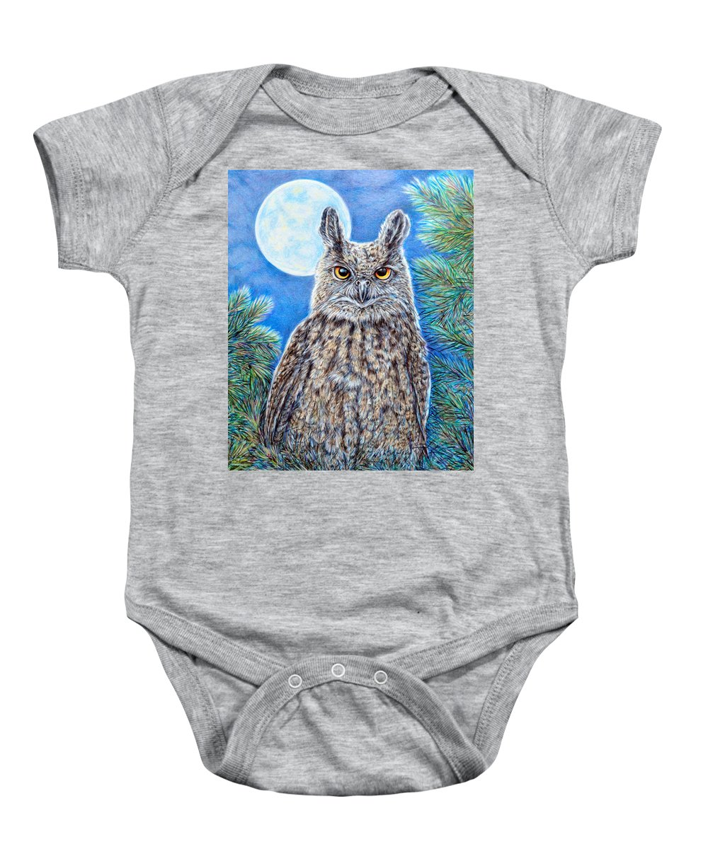 Nature Wildlife Birds Owl Moon Night Baby Onesie featuring the painting Night Watchman by Gail Butler