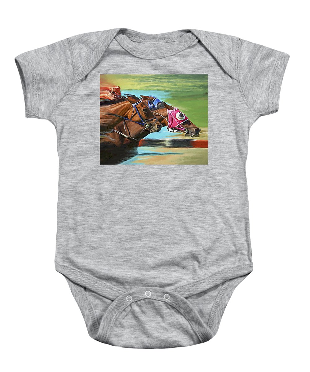 Horses Baby Onesie featuring the painting Nikita By A Head by David Wagner