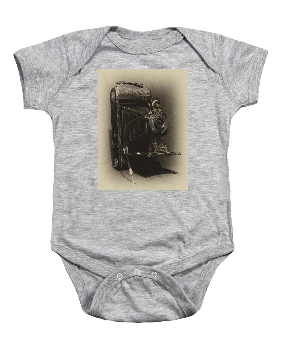 A-1 Baby Onesie featuring the photograph No. 1-a Kodak Jr. by Leah Palmer