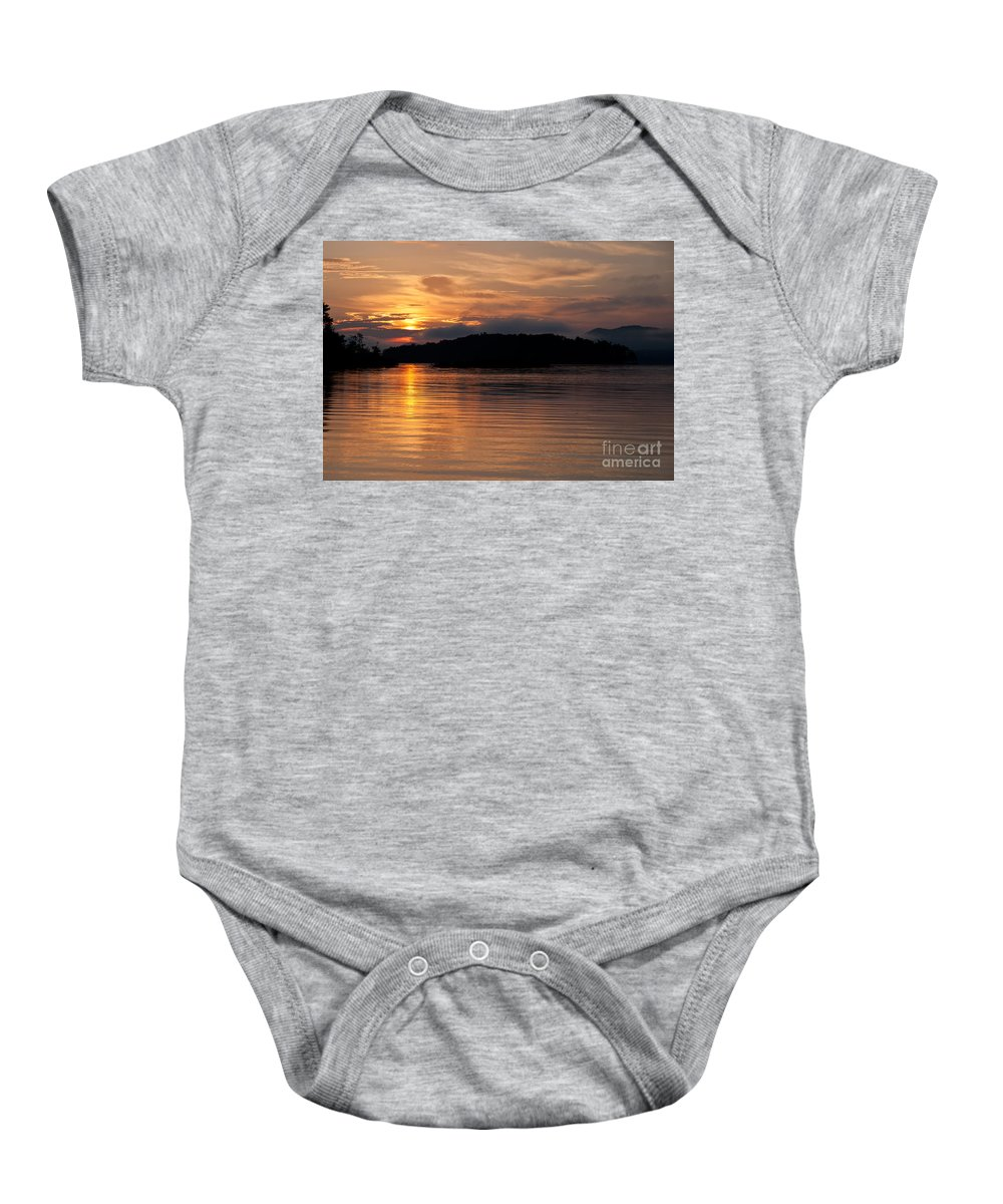 Sunrise Baby Onesie featuring the photograph Norris Lake Sunrise by Douglas Stucky