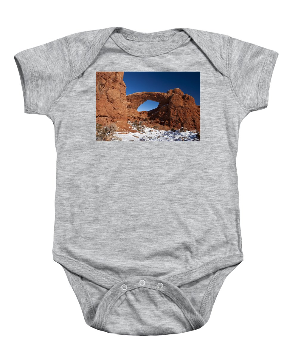 The Windows Baby Onesie featuring the photograph North Window Arches National Park Utah by Jason O Watson