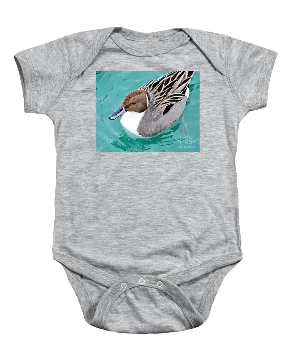 Northern Pintail Baby Onesie featuring the photograph Northern Pintail by Patti Smith