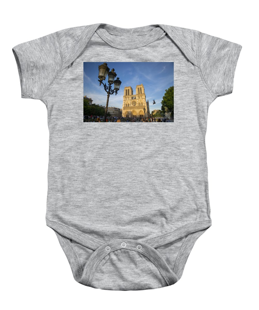 Cathedral Baby Onesie featuring the photograph Notre Dame Tourists by Brian Jannsen