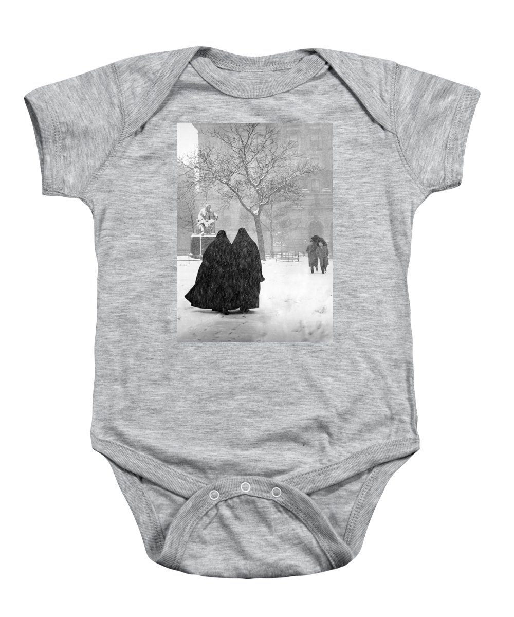Christmas Baby Onesie featuring the photograph Nuns in Snow New York City 1946 by Melissa A Benson