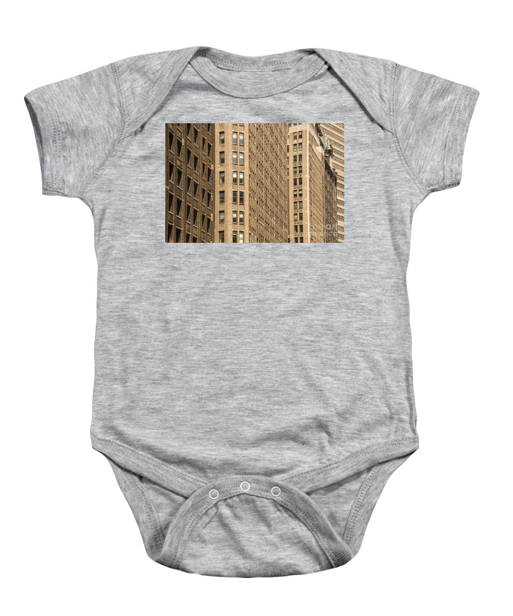 Apartment Building Apartments Buildings Window Windows Structure Structures Architecture New York City Cities Cityscape Cityscapes Baby Onesie featuring the photograph Nyc Brown Tones by Bob Phillips