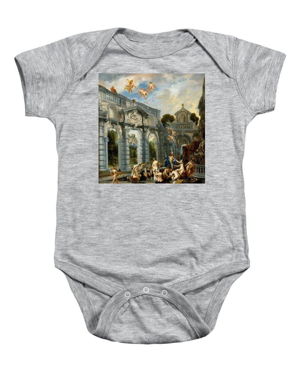 Jacob Jordaens Baby Onesie featuring the painting Nymphs At The Fountain Of Love by Jacob Jordaens