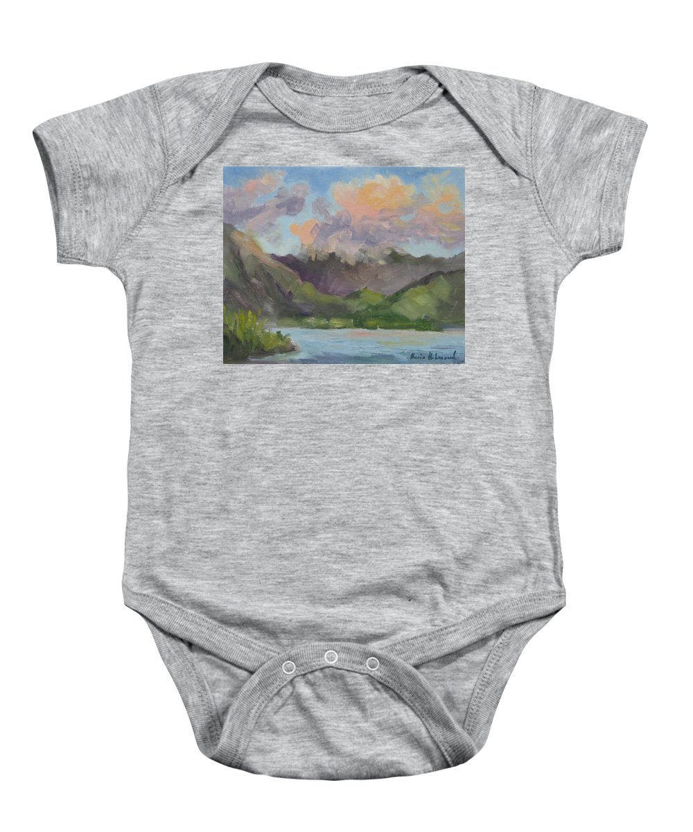 Hawaii Baby Onesie featuring the painting Oahu Sunrise by Karin Leonard