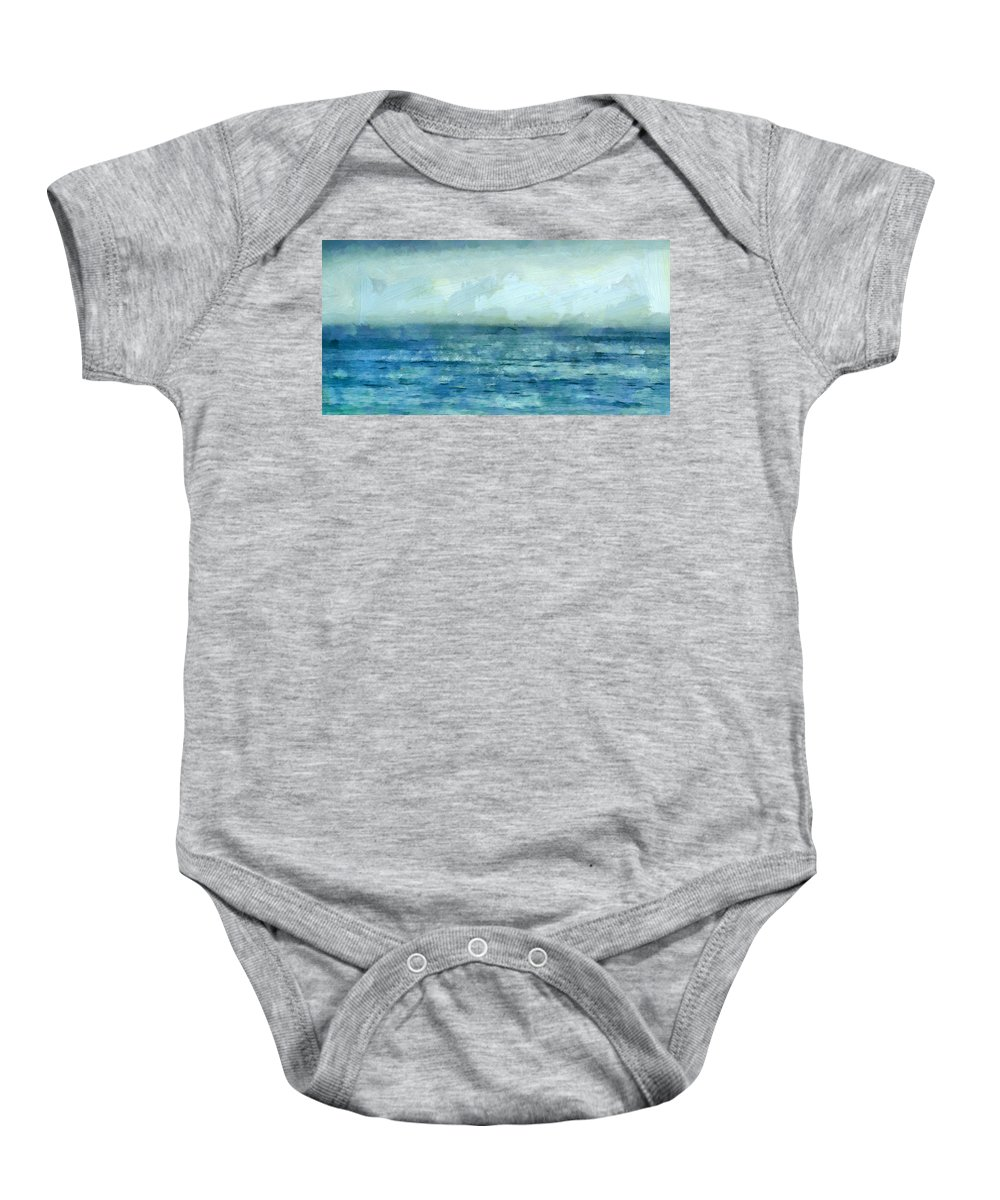 Ocean Baby Onesie featuring the mixed media Ocean 3 by Angelina Vick