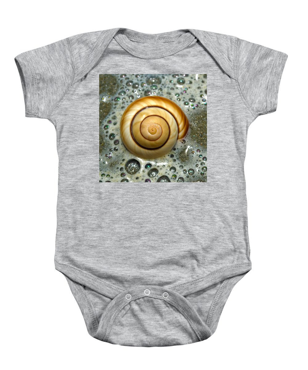 Shell Baby Onesie featuring the photograph Ocean Shell Spiral by Sandi OReilly
