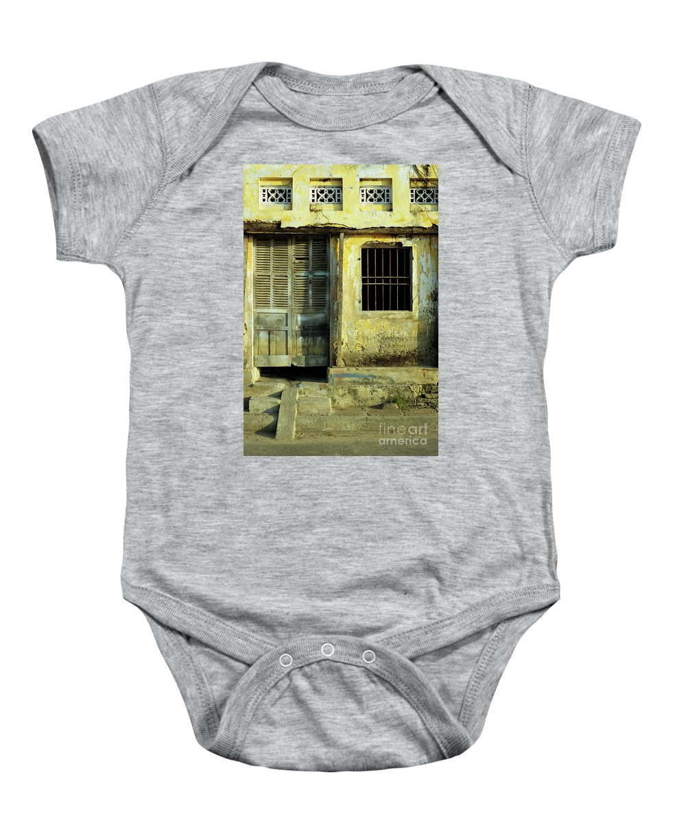 Vietnam Baby Onesie featuring the photograph Ochre Wall 03 by Rick Piper Photography