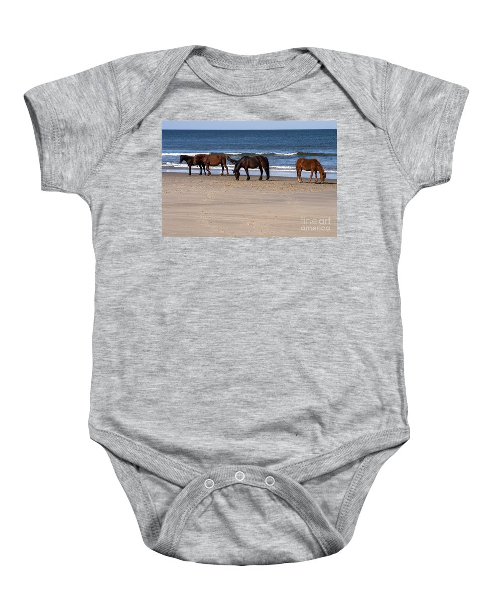 Outer Banks North Carolina Horse Horses Colt Colts Animal Animals Creature Creatures Baby Onesie featuring the photograph Odd Man Out by Bob Phillips