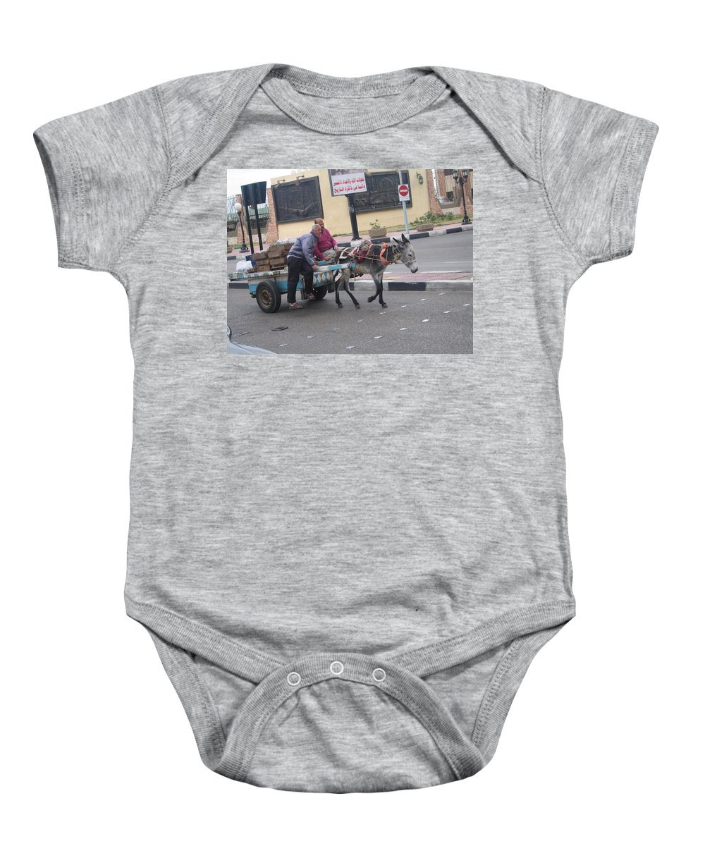 Travel Baby Onesie featuring the photograph Off To Market In Port Said Egypt by Jay Milo