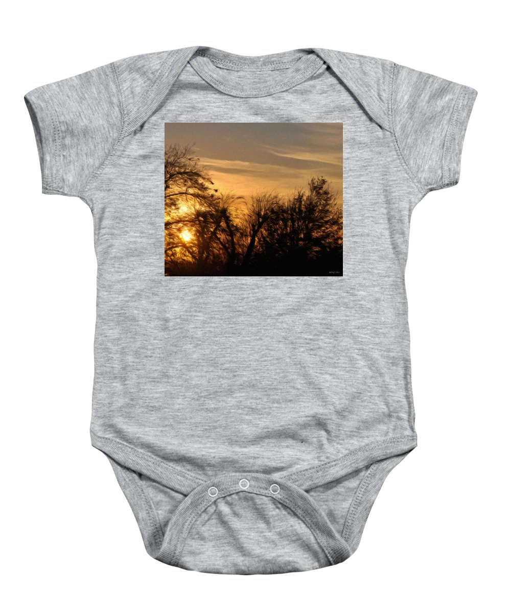 Cloud Baby Onesie featuring the painting Oklahoma Sunset by Jeffrey Kolker