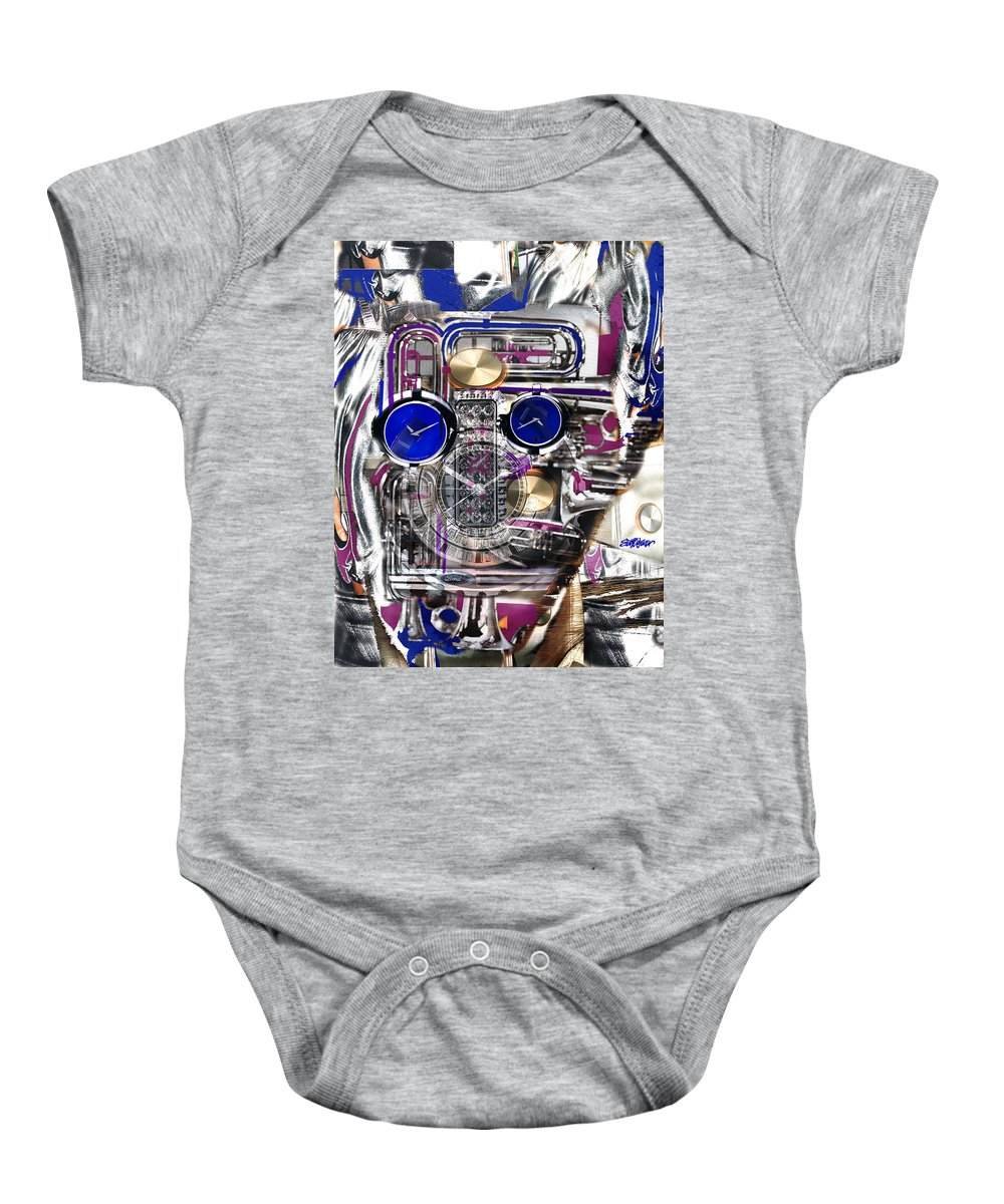 Robotic Time Traveller Baby Onesie featuring the digital art Old Blue Eyes by Seth Weaver