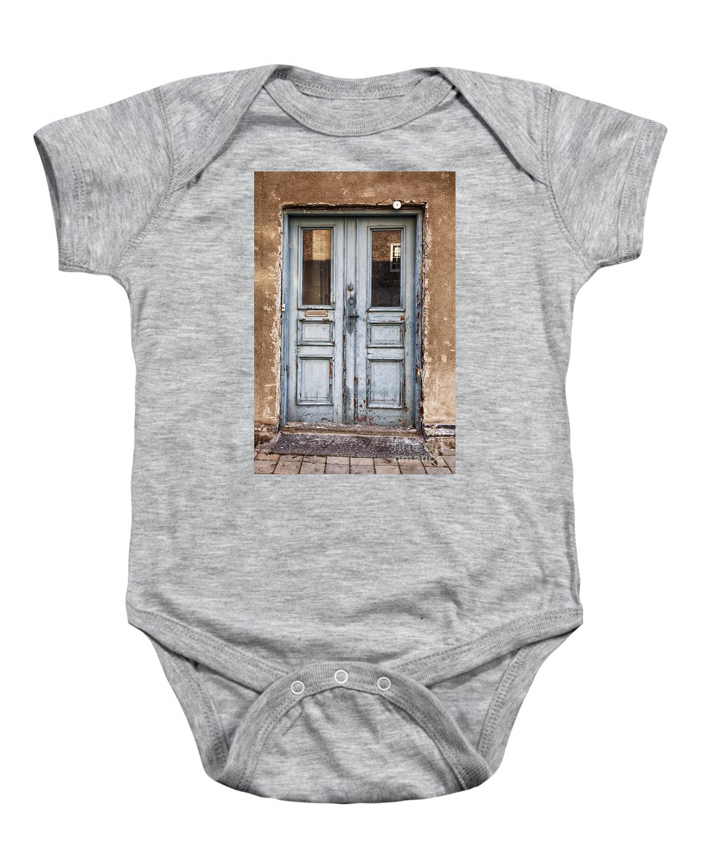 Old Baby Onesie featuring the photograph Old Dirty Door by Sophie McAulay