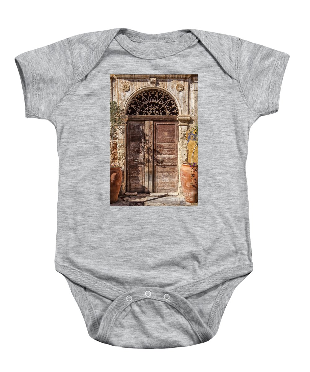 Worn Baby Onesie featuring the photograph Old Door by Sophie McAulay