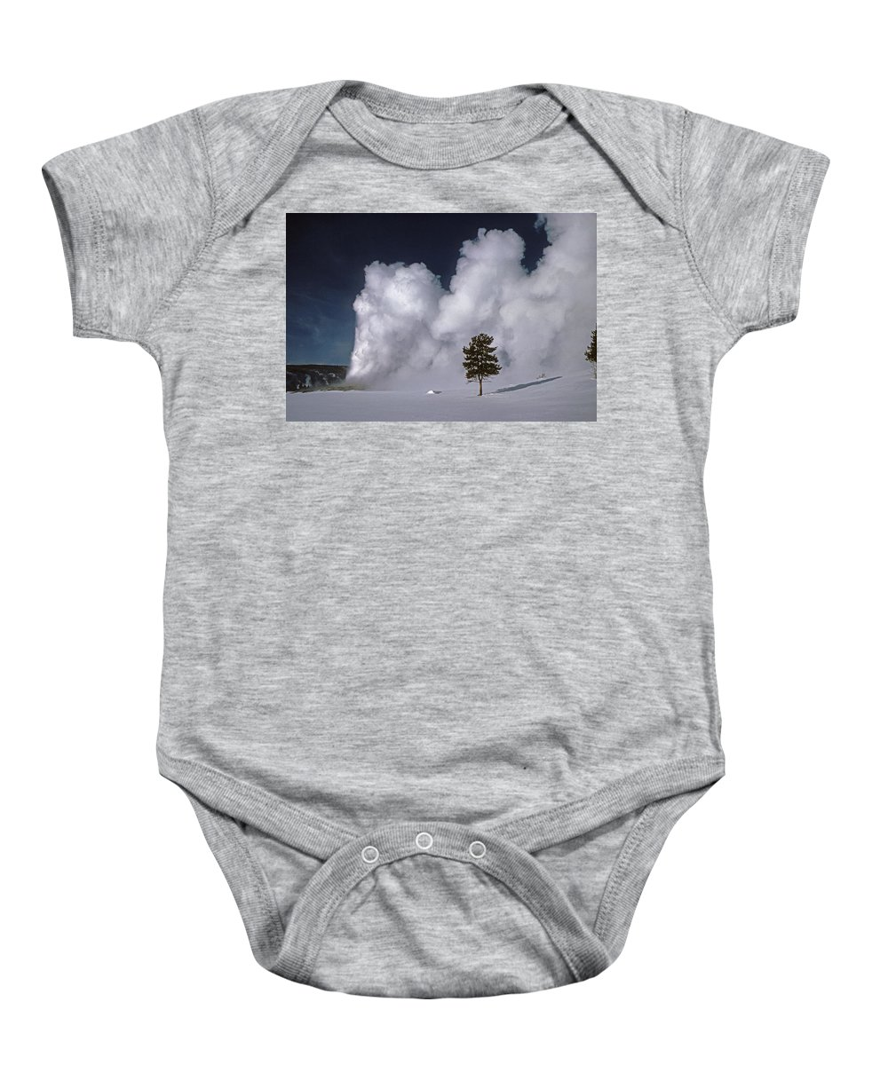 Old Faithful Baby Onesie featuring the photograph 3m09137-02-old Faithful Geyser 2 by Ed Cooper Photography
