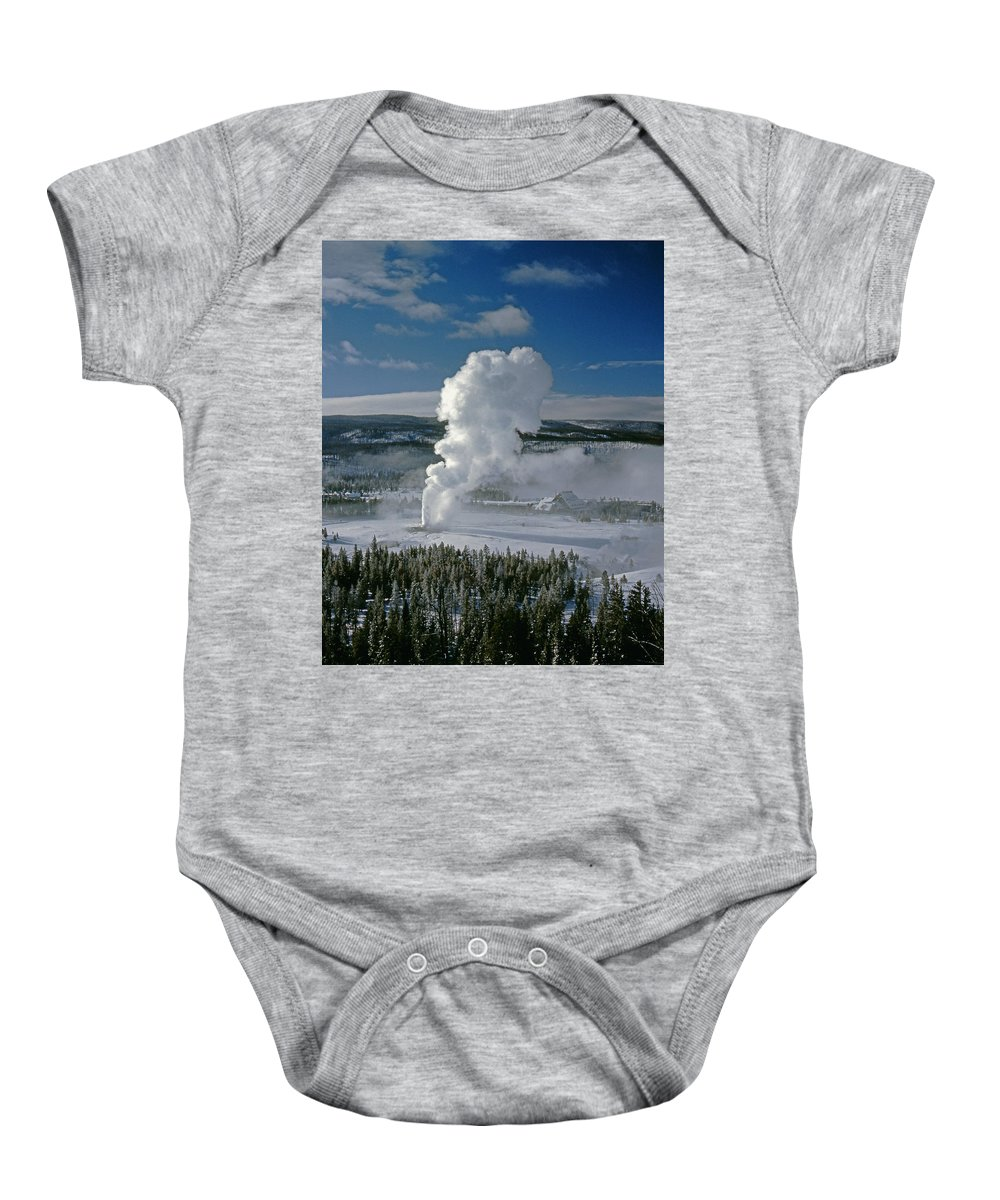 Old Faithful Baby Onesie featuring the photograph 3m09133-01-old Faithful Geyser In Winter - V by Ed Cooper Photography