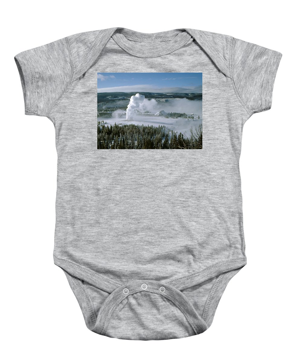 Old Faithful Baby Onesie featuring the photograph 3m09132-01-old Faithful Geyser In Winter by Ed Cooper Photography