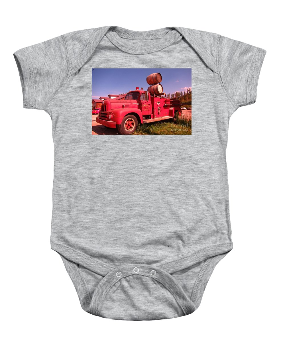 Fire Trucks Baby Onesie featuring the photograph Old Fire Truck by John Malone