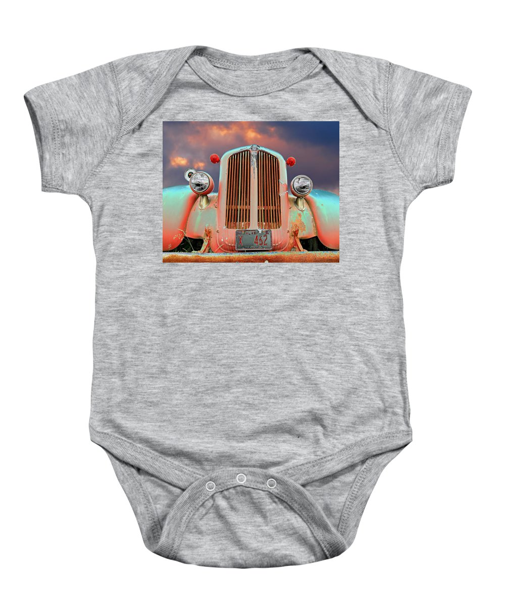 Truck Baby Onesie featuring the photograph Old Firefighter by Ron Day