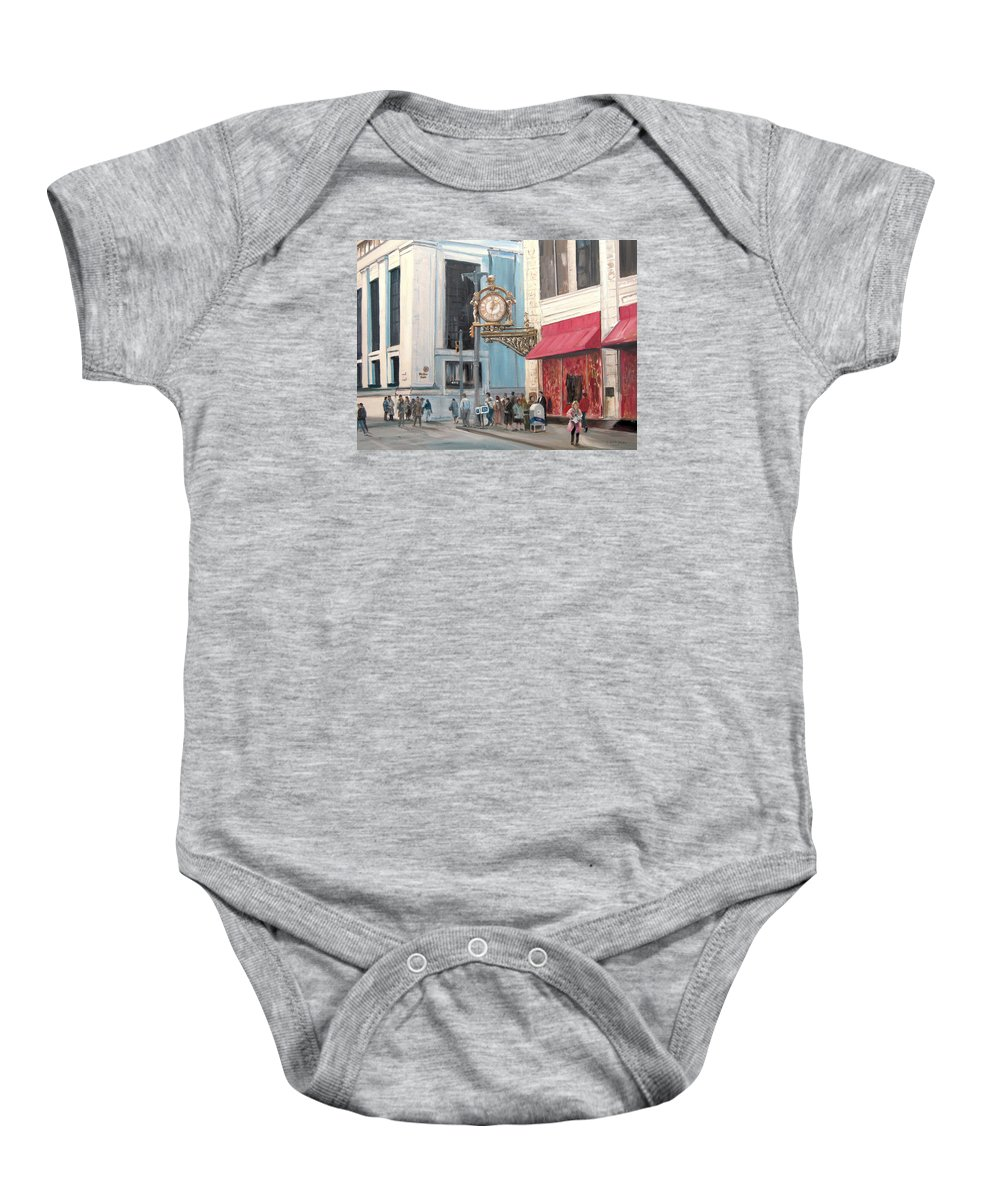 Clock Baby Onesie featuring the painting Old Kaufmann's Clock by C Keith Jones