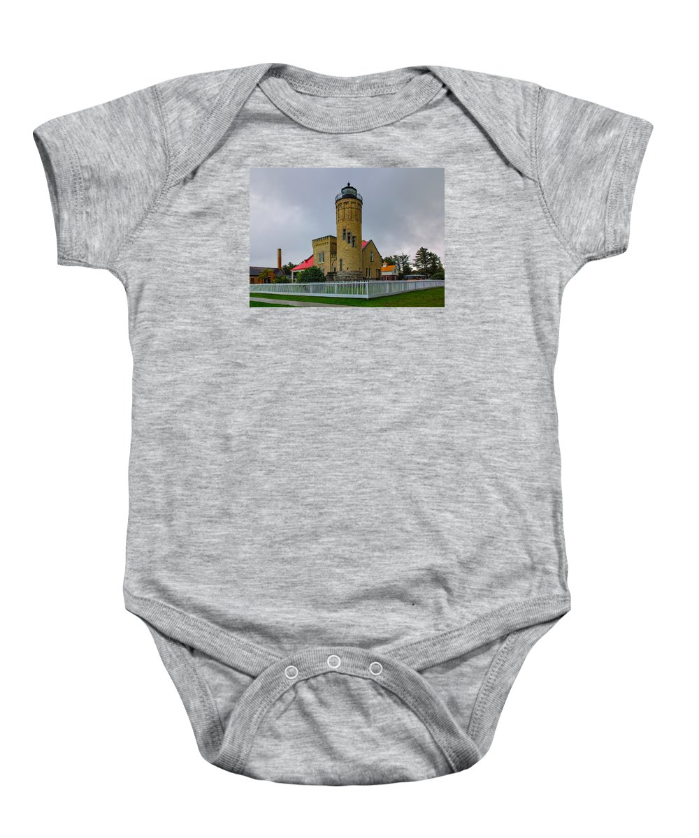 Architecture Baby Onesie featuring the photograph Old Mackinac Point Lighthouse by John M Bailey