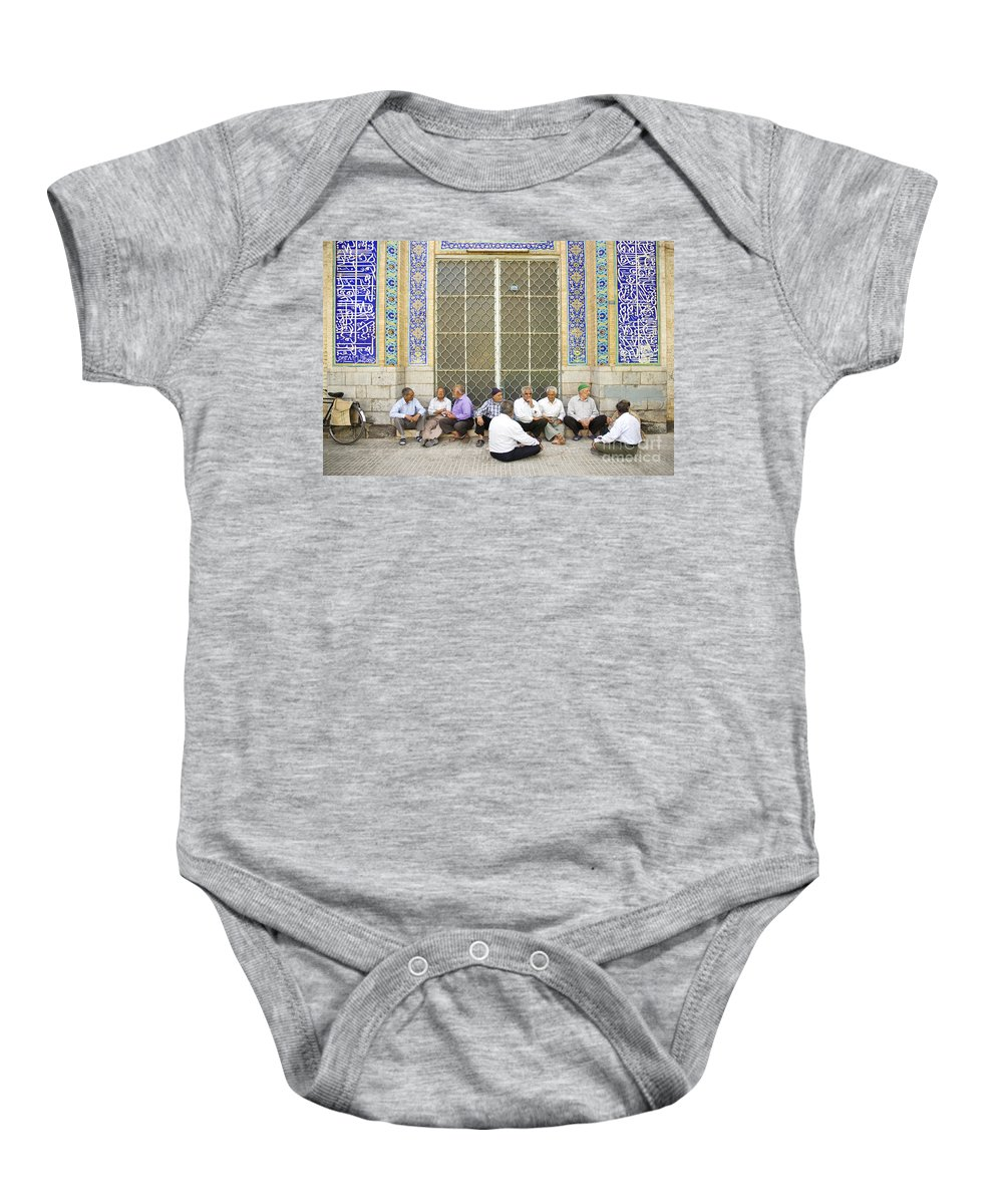 Old Baby Onesie featuring the photograph Old Men Socializing In Yazd Iran by Jacek Malipan