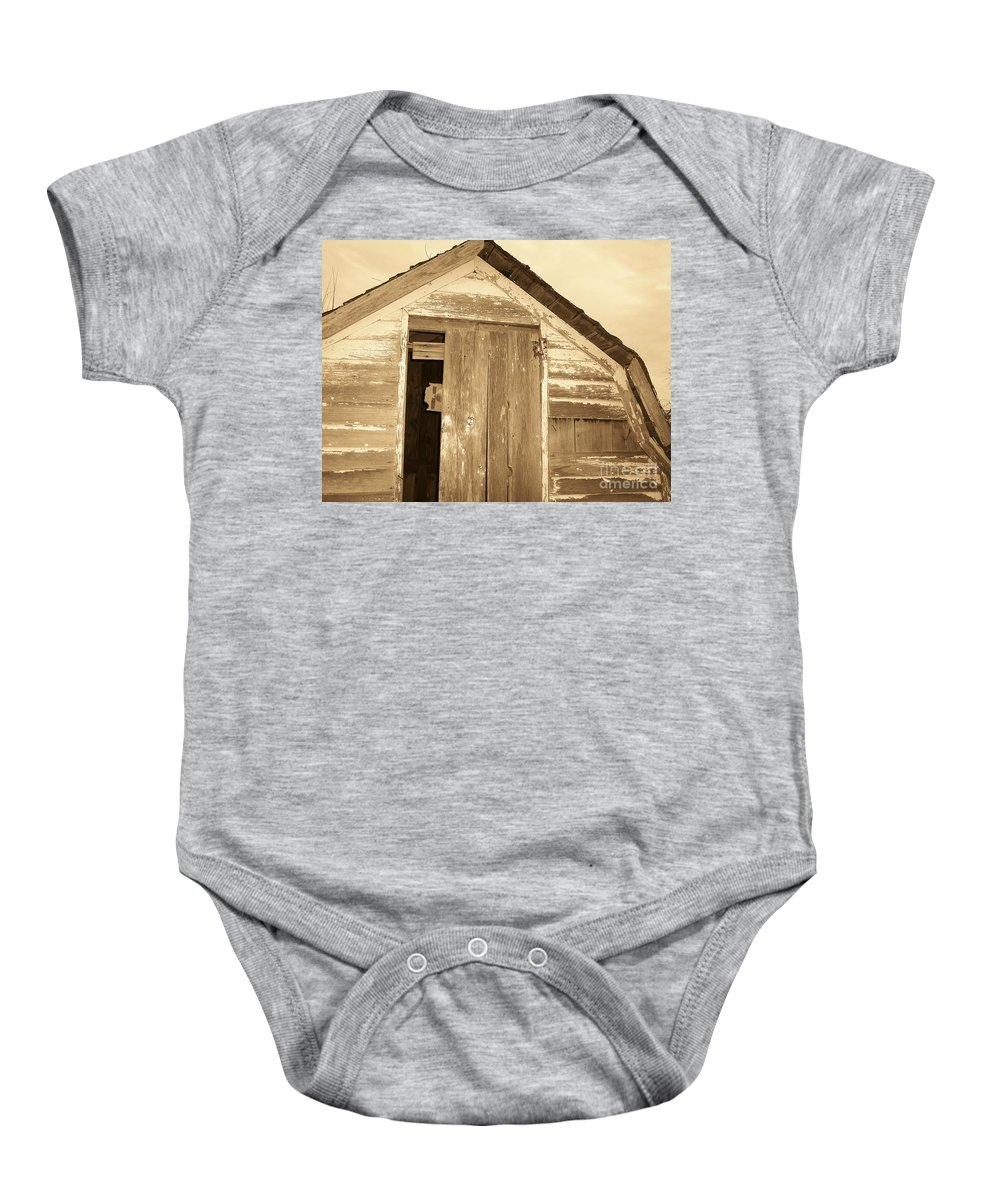 Old Shed Baby Onesie featuring the photograph Old Shed by Brandi Maher