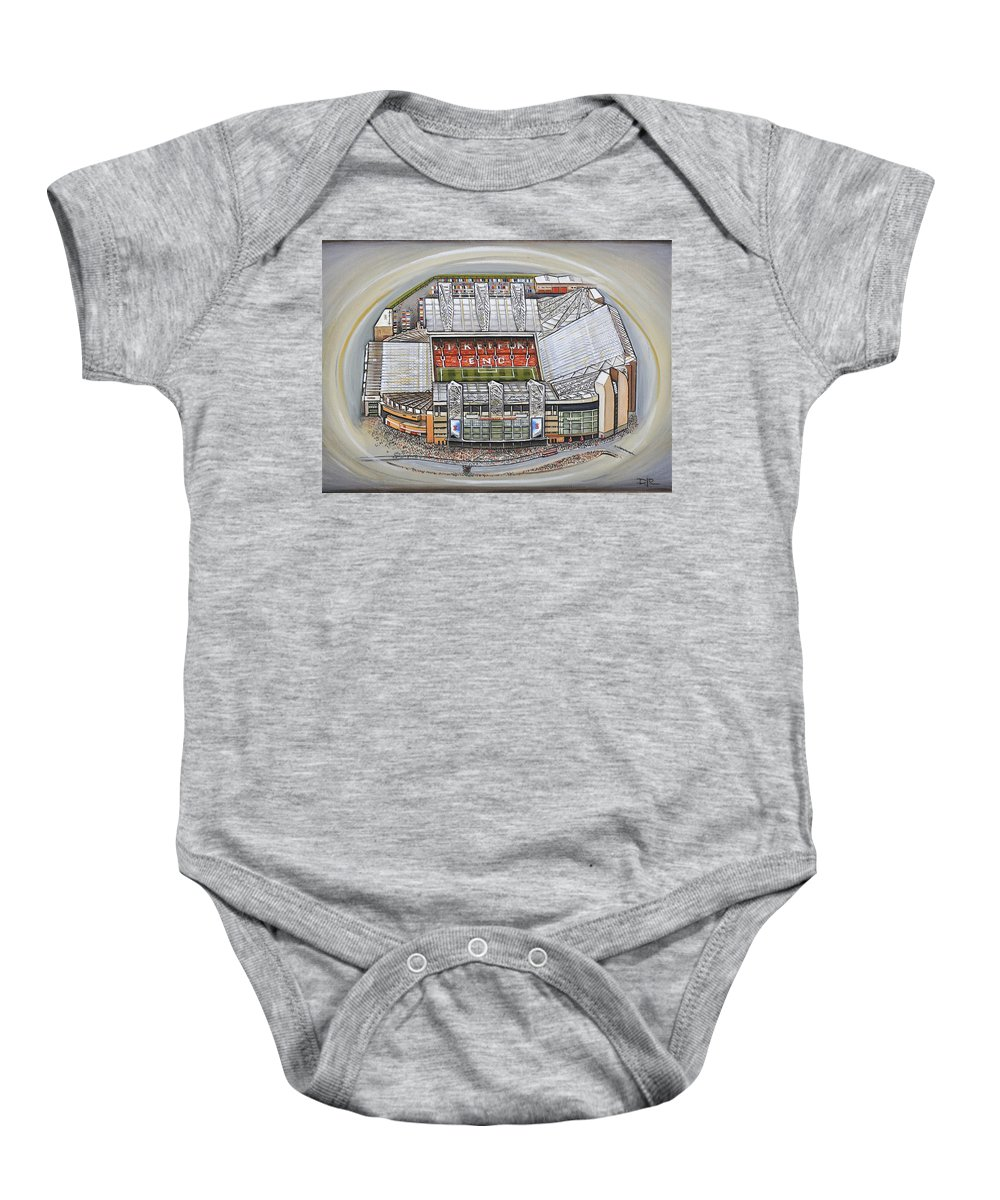 008bae7b8 Canvas Baby Onesie featuring the painting Old Trafford - Manchester United  by D J Rogers
