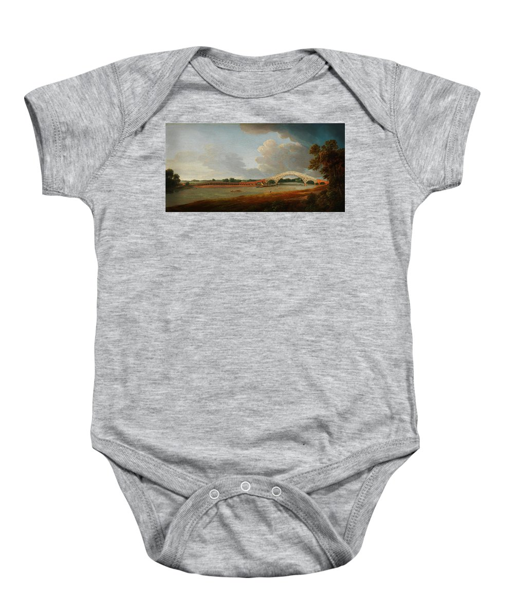 Francis Towne - Old Walton Bridge Baby Onesie featuring the painting Old Walton Bridge by Celestial Images