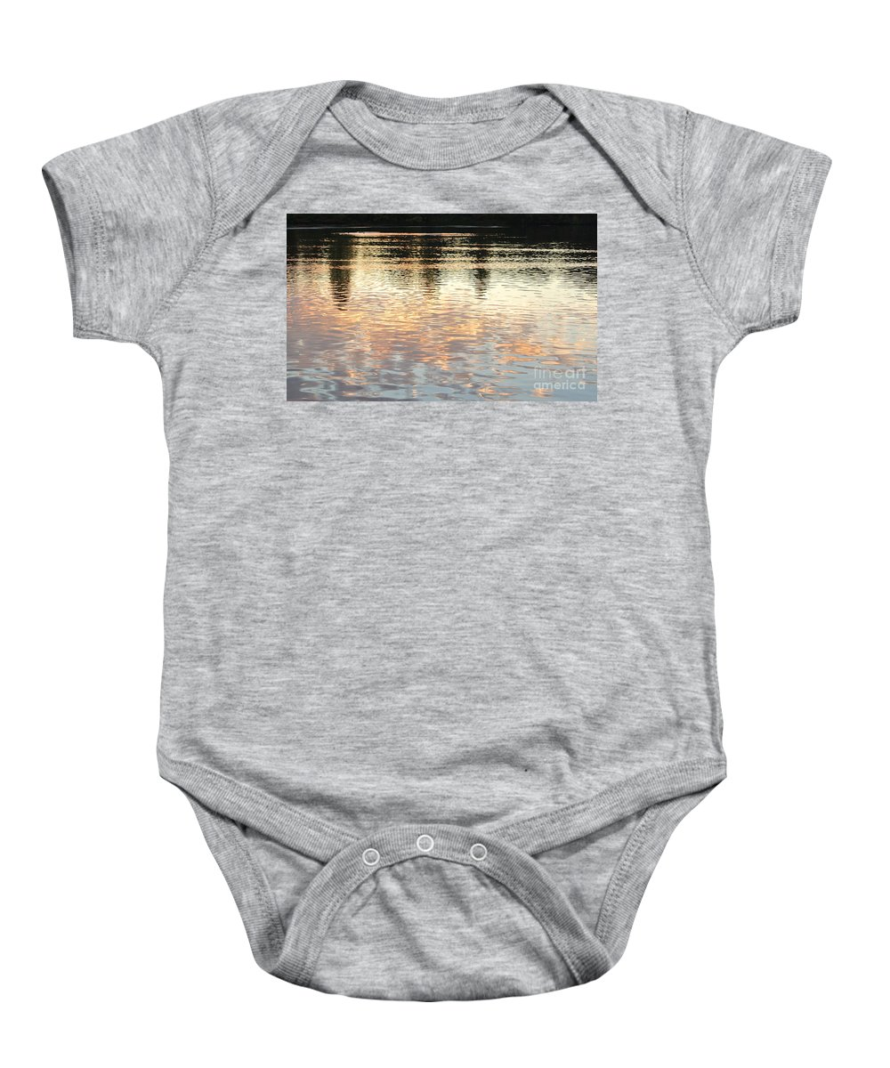 Pond Baby Onesie featuring the photograph On Shimmering Pond by Charlotte Stevenson