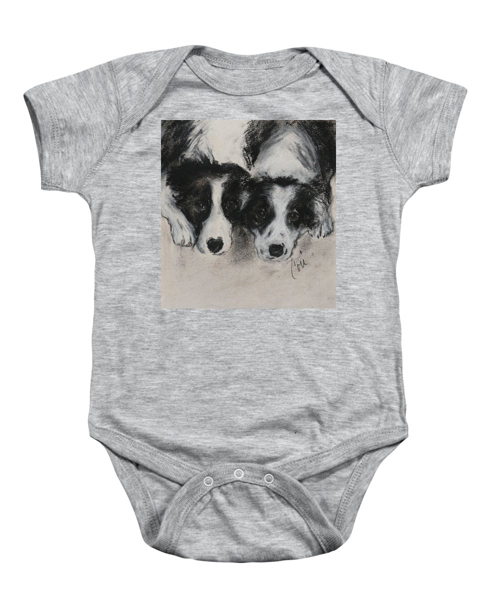 Border Collie Baby Onesie featuring the drawing On The Border by Cori Solomon