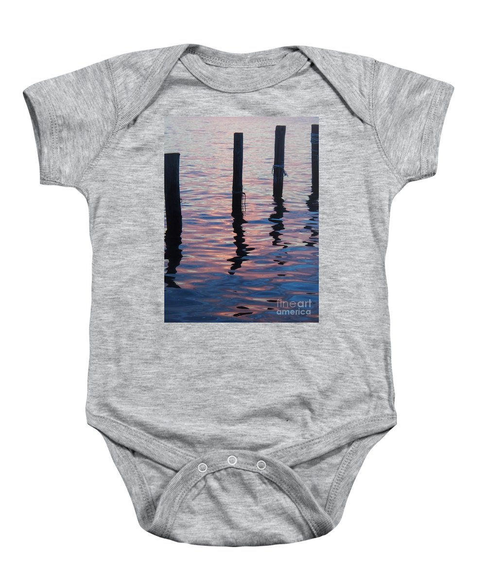 River Baby Onesie featuring the photograph On The Dock Of The Bay by Eric Schiabor