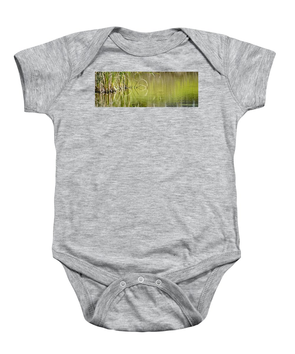 Pond Baby Onesie featuring the photograph On The Pond by Carolyn Marshall