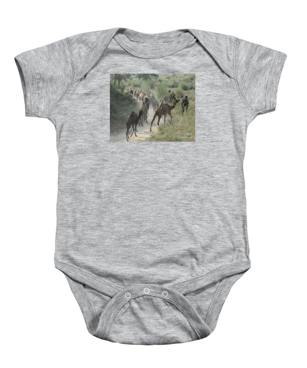 Camels Baby Onesie featuring the photograph On The Road To Pushkar by PJ Boylan