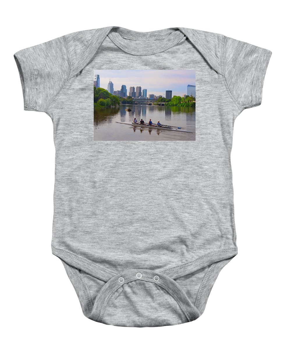On The Baby Onesie featuring the photograph On The Schuylkill by Bill Cannon