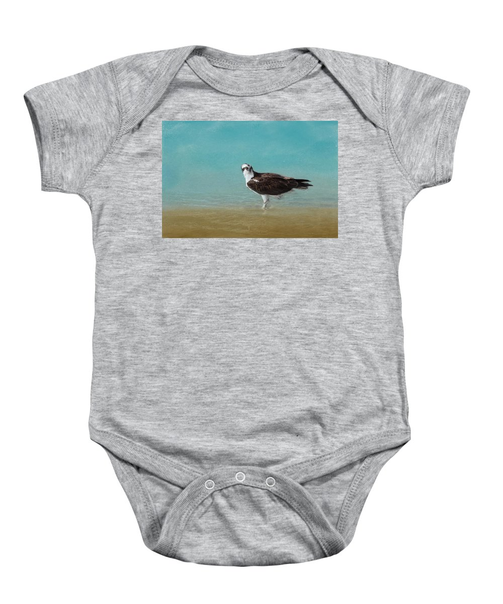 Osprey Baby Onesie featuring the photograph On The Shore - Osprey by Kim Hojnacki