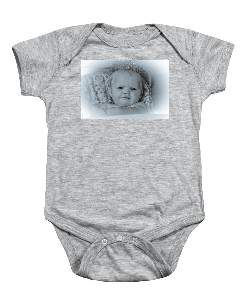 Portrait Baby Onesie featuring the photograph One More Reason by M Dale