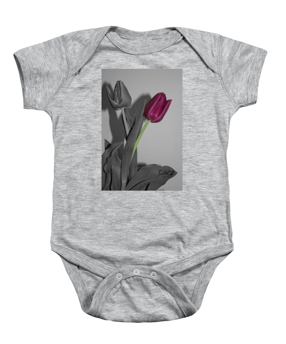 Tulips Baby Onesie featuring the photograph One Stands Alone by Barbara S Nickerson