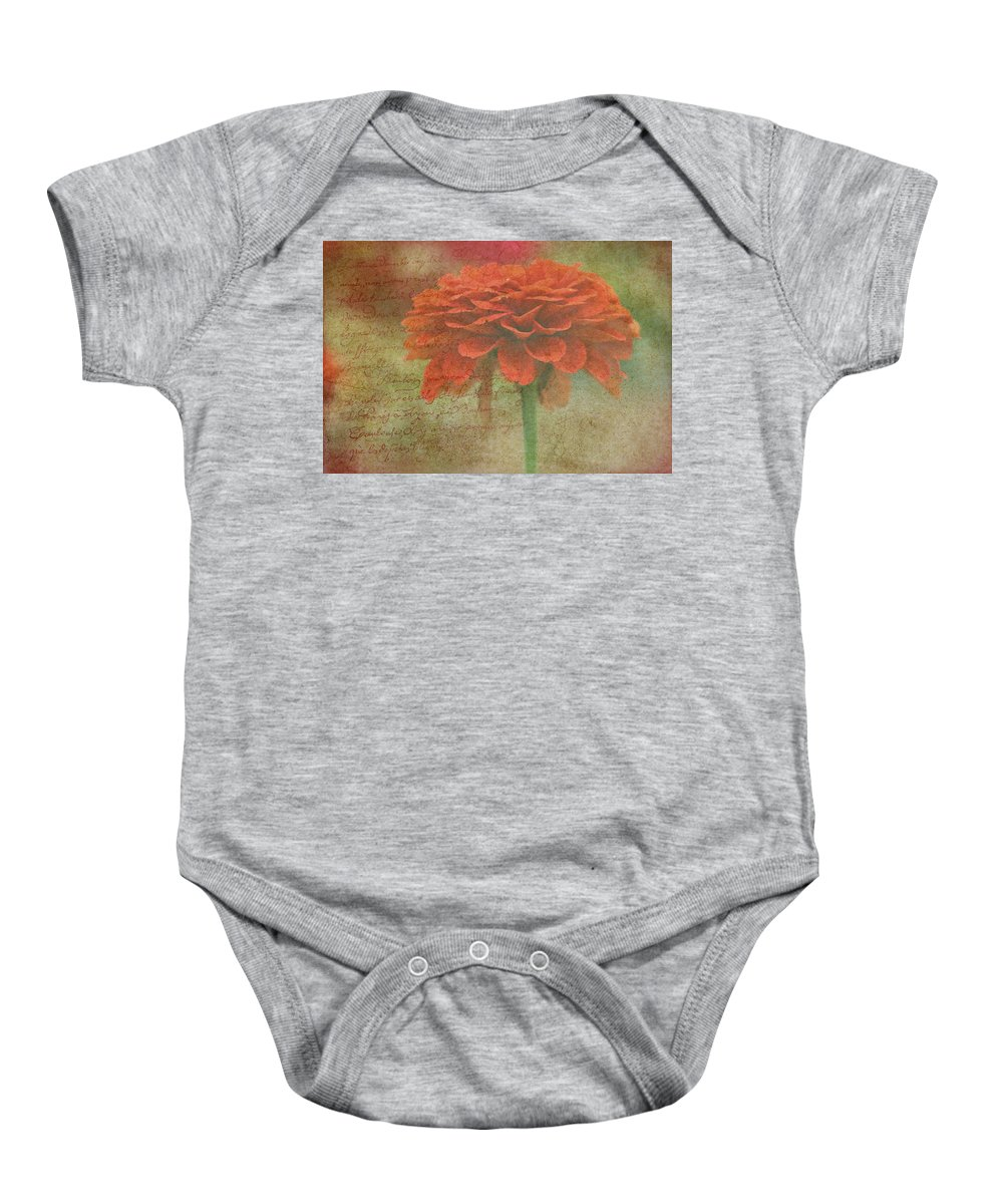 Orange Baby Onesie featuring the photograph Orange Floral Fantasy by Kay Novy