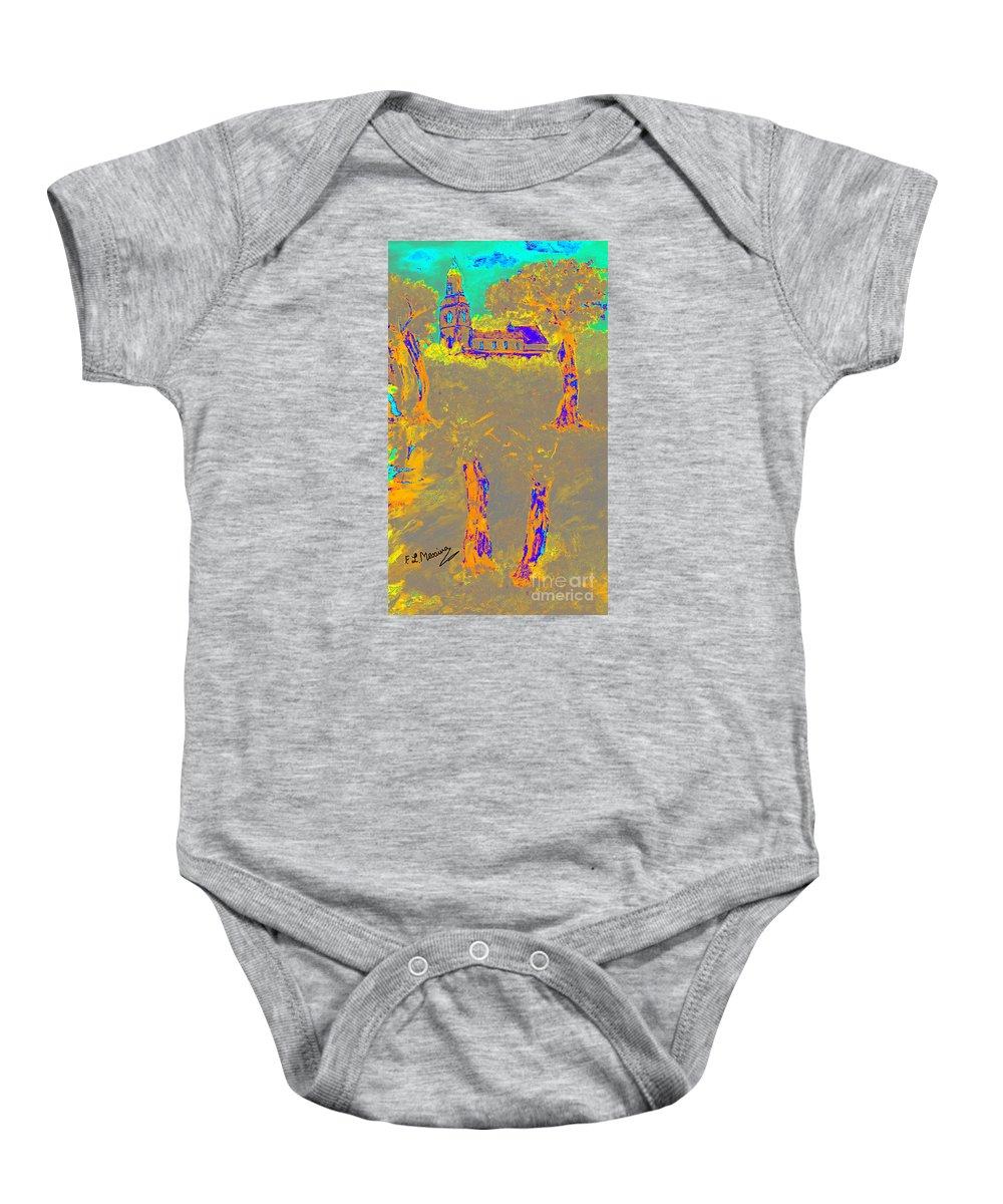 Abstract Baby Onesie featuring the digital art Orange Shadows by Loredana Messina