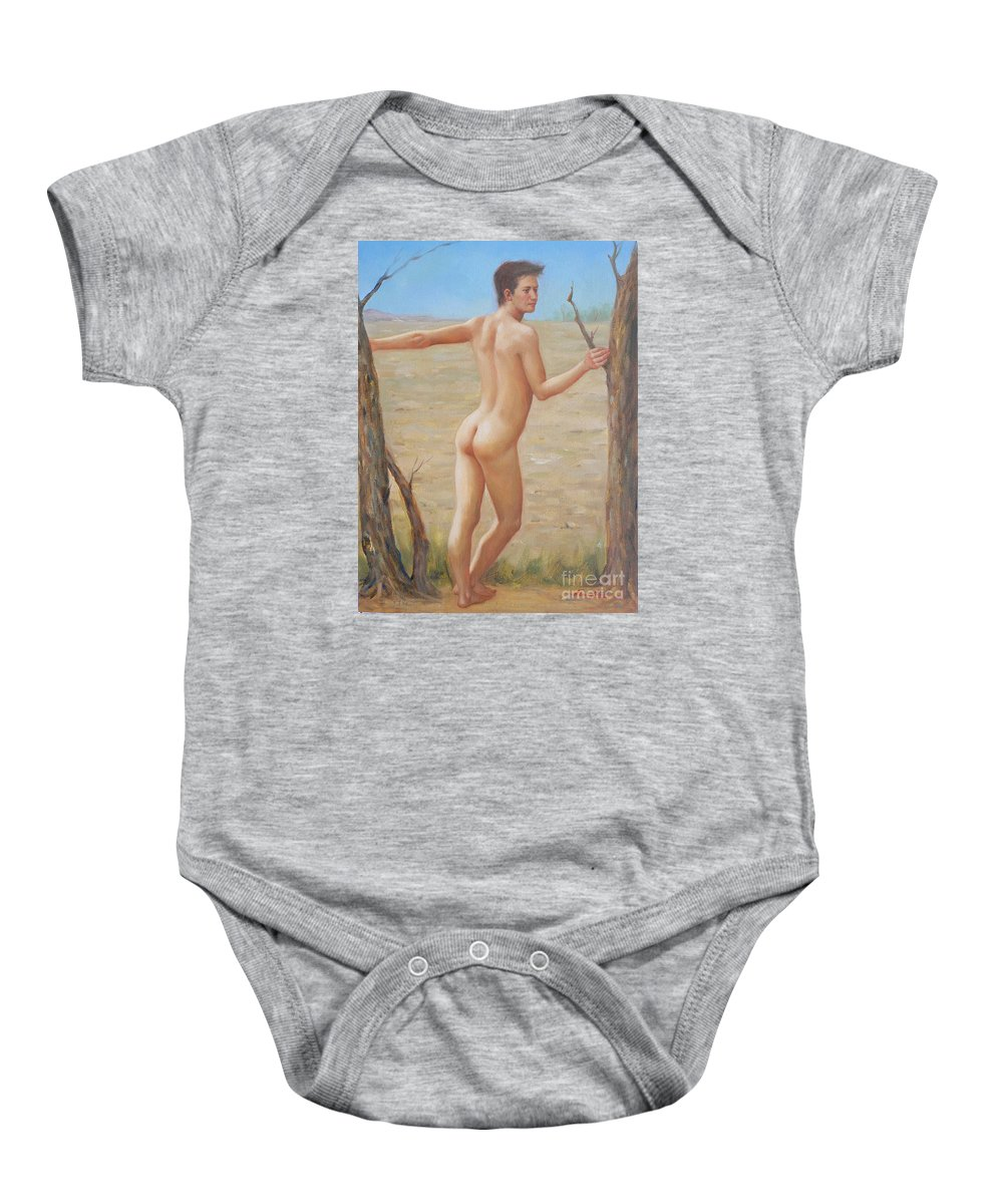 Art Baby Onesie featuring the painting original Oil painting boy art male nude on canvas#16-2-5-07 by Hongtao   Huang