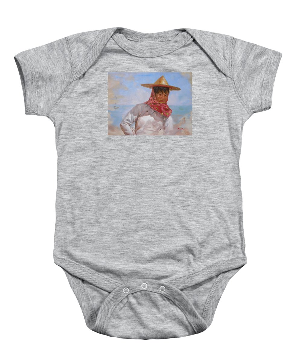 Oil Painting Baby Onesie featuring the painting Original Oil Painting - Chinese Woman#16-2-5-26 by Hongtao   Huang